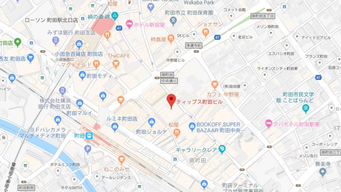 オリエンタルラウンジイブ町田店の地図